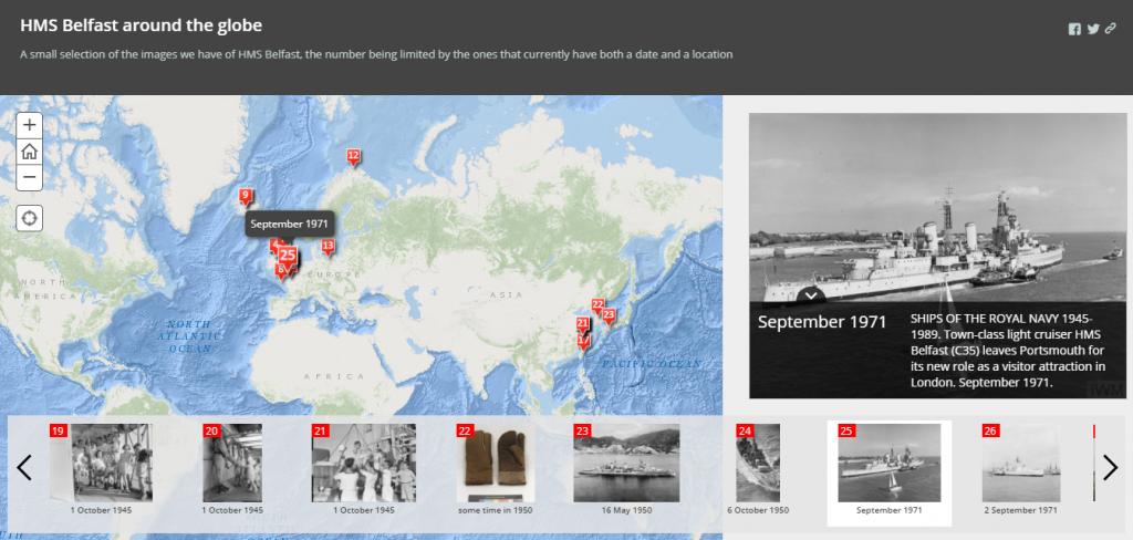Screenshot of Storymaps site with HMS Belfast