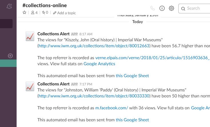 Custom Google Analytics Alerts as sent to Slack