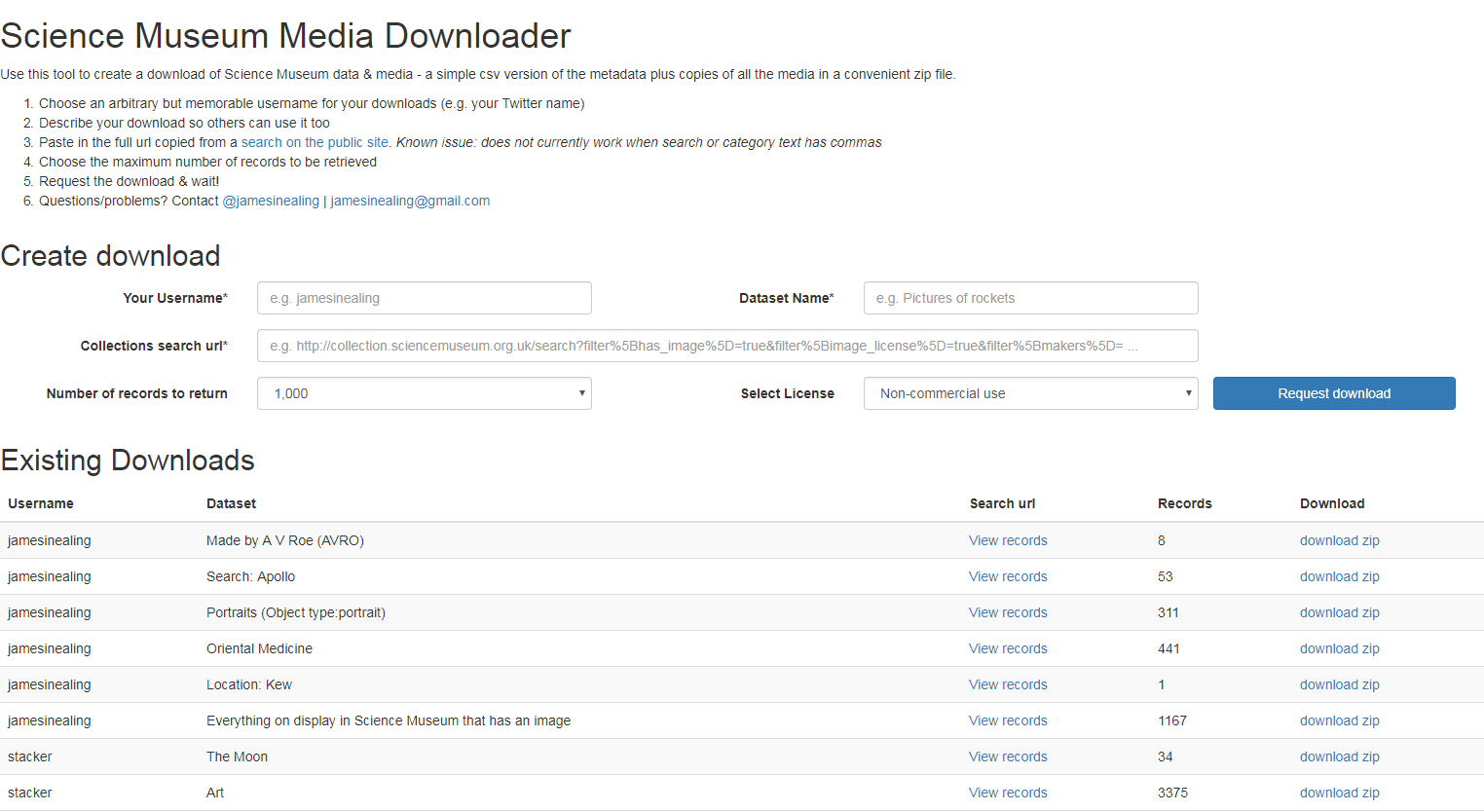 Science Museum Media Downloader interface
