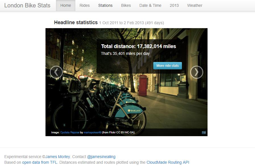 London Cycle Hire open data screengrab